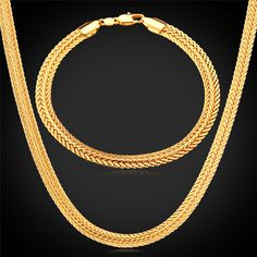 U7 Gold Necklace Set 18K Stamp Wholesale 2015 New Trendy Gold Plated 0.6 cm Wide Necklace Bracelet Party Men's Jewelry Sets