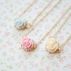 Pastel Mini Rose Necklace Gold or Silver by NestPrettyThingsKids