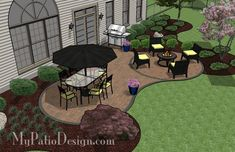 Curvy Backyard Patio | Outdoor Fireplaces & Fire Pits