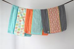 Baby Burp Cloth Gift Set of 3 Colorful Elephants by owesley