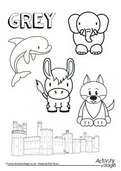A castle, a wolf, a donkey, a dolphin and an elephant adorn our grey things colouring page - so get out a grey pencil and get colouring in! We have a Gray Things Colouring Page for our US visitors too. Color Worksheets For Preschool, Preschool Coloring Pages, Preschool Colors, Preschool Curriculum, Preschool Learning, Coloring For Kids, Colouring Pages, Preschool Crafts, Coloring Sheets