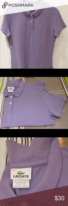 Authentic Womens Lacoste Classic Fit Polo Shirt PreOwned Authentic Womens Lacoste Classic Fit Style Polo Shirt  LAVENDER 46 Iconic polo style made from classic cotton piquÈ is perfect for everyday- wear it with dark-rinse denim or skinny black trousers. Short Sleeve Classic polo in classic body Petite pique fabrication Irregular hem with side slits Classic Fit Lacoste Tops