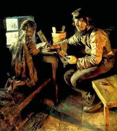 """The first lesson"", 1889. Akseli Gallen-Kallela (1865-1931), Finnish artist."