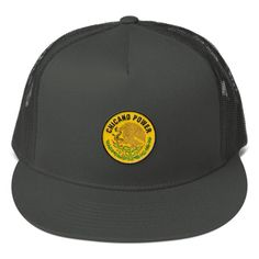 Classic trucker cap style with a cool fabric blend. • 47% cotton/28% nylon/25% polyester • Structured • Five panel • High profile • Flat bill • Snapback closure