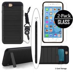 iPhone 7 Plus Case, Cxy iPhone 7 Plus Wallet Case with Kickstand +2-Pack Tempered Glass Screen Film +1 Lanyard - Slim and Hybrid Drop Protection Kit Bundle[Reinforced Shockproof Bumper] (Black). CxyCase Protective Kit Includes 1 hybrid case,1 PC hard back case,1 piece of Lanyard, 2 tempered glass screen protectors with alcohol prep pad, microfiber cloth, guider sticker and dust removal tool.And the 2 Pack Glass is Located In the Bottom Side of the Box.●HYBRID CASE- The case is two-part...