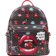 Nicole Lee Pascale Fashion Backpack - Read My Lip - Backpack Handbags ($61) ❤ liked on Polyvore featuring bags, backpacks, red, print backpacks, shoulder strap backpack, studded backpack, faux leather backpack and red backpack