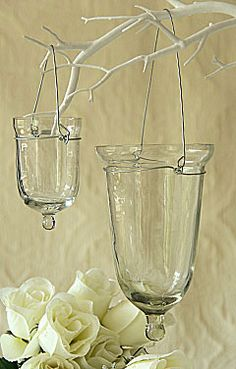 Set of 6 Glass Tealight Holders - 3 Inches Tall with Hangers