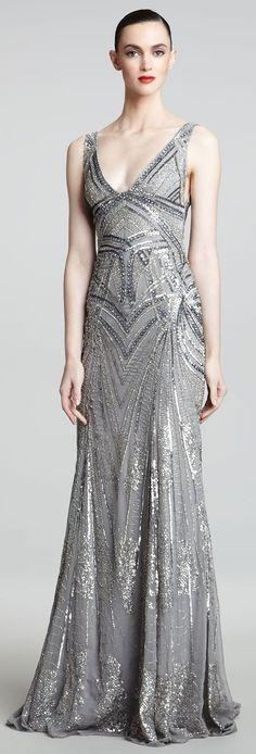 Monique Lhuillier Art Deco Embroidered Gown