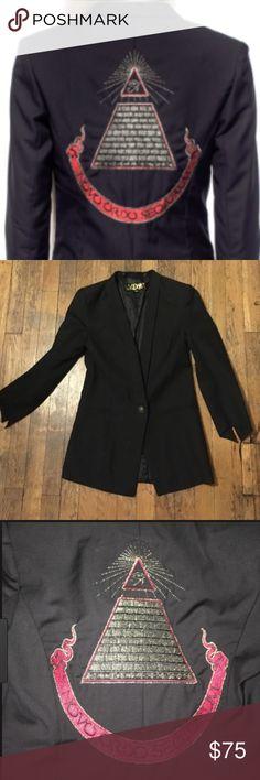 Lip Service Widow Gold Illuminati Jacket Black Blazer with groovy embroidering on the back. Very Madonna 1980's Desperately Seeking Susan. Size XL. NWT. Runs small. Lip Service Jackets & Coats Blazers