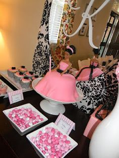 Buffet Table at Kayden's Tea in Paris Party...inspired by Vintage Barbie Party at www.cakeeventsblog.com.