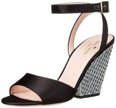 kate spade new york Women's Isadora Wedge Sandal, Black Satin/Clear Stone Heel, 6.5 M US. Sandal featuring adjustable ankle strap, logoed footbed, and crystal-covered wedge heel.