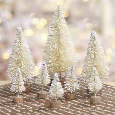 Assorted Frosted Cream Bottle Brush Trees - Christmas Trees and Toppers - Christmas and Winter - Holiday Crafts
