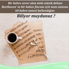 Bir kahve sever olan ünlü müzik dehası Beethoven, kahve konusunda o kadar hassastı ki bir kahve fincanı için tamı tamına 60 kahve tanesi kullandığını biliyor muydunuz? #kahve #beethoven #coffee #music