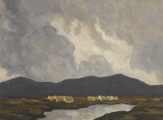 'Cottages by a Lake' (c. 1935-40) by Paul Henry