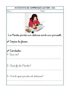 Dori dos 1112_mt005_r1_comprensio_lectora_3 Catalan Language, Teaching, Education, School, Texts, Guided Reading, Reading Comprehension, Reading Comprehension, Preschool Printables