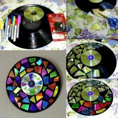 Schallplatte und CD Uhr