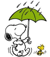 Lala lalalalalala... I'm dancing and I'm singing in the rain..... Look at us Woodstock ! We're like Gene Kelly! Teehee.