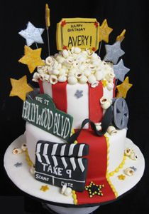 Fun Specialty Cakes Birthday cakes, anniversary cakes, graduation cakes, corporate party cakes: you name it, we've done it! Crazy Cakes, Fancy Cakes, Cute Cakes, Popcorn Theme, Popcorn Cake, Movie Popcorn, Cake Bake Shop, No Bake Cake, Beautiful Cakes