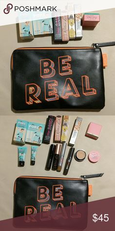 Benefit mini grab bag All brand new and never used. Typically retail $12-$15 separately. You get two porefessionals, the new bad gal bang mascara, roller ball mascara, ka-brow in shade 3, they're real double lip in lusty Rose, and boi-ing concealer in shade 1. All of the proceeds from this go to help paying for my puppies surgery. Benefit Makeup