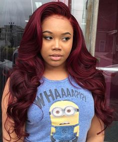 Long curly burgundy sew in hairstyle hair looks, sew in hairstyles curly, curly hair Curly Hair Styles, Natural Hair Styles, Long Wigs, Short Wigs, Hair Laid, Love Hair, Gorgeous Hair, Wig Hairstyles, Latest Hairstyles
