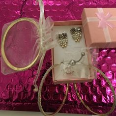 Bundle for Sherry Owl earrings, gold tone hoops, belly ring, Bracelete Other