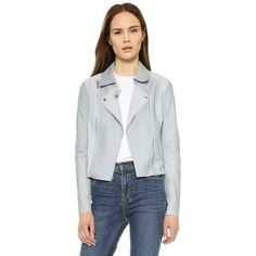 Paige Denim Silvie Leather Jacket (20.172.590 VND) ❤ liked on Polyvore featuring outerwear, jackets, blue fog, moto jacket, real leather jacket, blue moto jacket, lined leather jacket and lined jacket