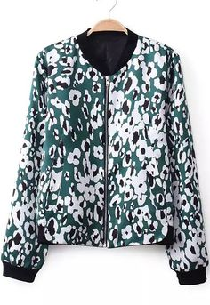 Green Long Sleeve Zipper Leopard Jacket 22.50