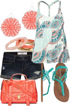 So cute for summer. Love the colors!! Purse is a little off though.