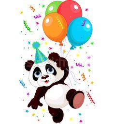 Panda and Balloons - ilustração de vetor por Anna Velichkovsky (Dazdraperma) - Stockfresh #3488767