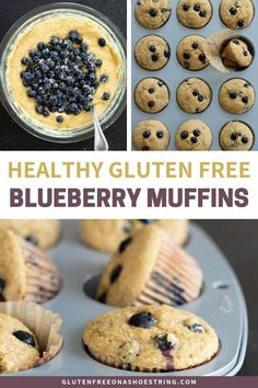 Use fresh or frozen blueberries to make these delicious, gluten free Healthy Blueberry Muffins! They are a yummy breakfast for the whole family, bursting with juicy blueberry flavor! This recipe is si Muffins Sans Gluten, Gluten Free Blueberry Muffins, Dessert Sans Gluten, Easy Gluten Free Desserts, Bon Dessert, Gluten Free Banana Bread, Dessert Simple, Gluten Free Recipes For Breakfast, Healthy Gluten Free Recipes