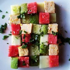 Watermelon, Avocado & Tofu Ceviche vegan, plantbased, earth balance, made just right Vegan Foods, Vegan Snacks, Vegan Dishes, Vegan Treats, Raw Food Recipes, Vegetarian Recipes, Cooking Recipes, Healthy Recipes, Vegan Vegetarian