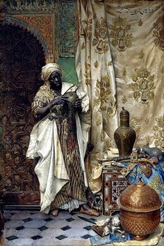 Ludwig Deutsch (Austrian painter) 1855 - 1935 The Inspection, 1883 oil on panel 15 x 10 in. Deutsch and dated 1883 (upper right) private collection African American Art, African Art, Jean Leon, Goldscheider, Empire Ottoman, Academic Art, Pics Art, Ludwig, Moorish