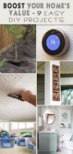 Boost Your Homes Value : 9 Easy DIY Projects! Easy bathroom remodel ideas curb appeal removing popcorn ceilings installing a smart thermostat planting a tree adding flowers decluttering and other projects ideas and tutorials! Home Renovation, Home Remodeling Diy, Kitchen Remodeling, Bathroom Renovations, Remodeling Companies, Bathroom Makeovers, Home Improvement Loans, Home Improvement Projects, Home Depot