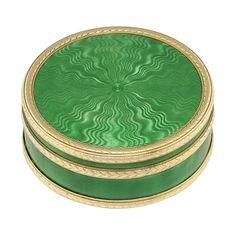 A FABERGÉ CIRCULAR GUILLOCHE GREEN ENAMEL, SILVER AND GOLD PILL BOX - Bentley & Skinner