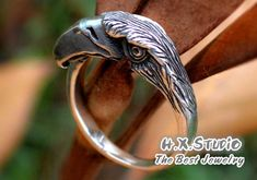 ♥♥♥Handmade Sterling Silver Ring♥♥♥  This eagle ring is made of sterling silver. This unique silver eagle ring is very well designed and totally handmade caring all aspects and details.  US Size Available: 5-9, and any size in the middle is OK.  Please select SIZE before you make your purchase.  This ring is very well designed and made, suitable for both men and women. Very unique jewelry, hand cast and you can wear this pendant on a daily basis for any occasions. This style will definitely…