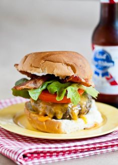 Juicy All American Cheddar Bacon Burger - also served with caramelized onions. The burger was huge and sinfully delicious! Gourmet Burgers, Burger Recipes, Grilling Recipes, Cooking Recipes, Bbq Meals, Veggie Burgers, Beef Recipes, American Burgers, Gastronomia