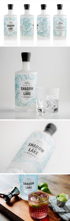 Legend Distilling of British Columbia, Canada - Shadow in the Lake vodka. White background decorated with fins, scales, and flippers - we love it! Beverage Packaging, Bottle Packaging, Brand Packaging, Label Design, Graphic Design, Package Design, Tequila, Alcohol Bottles, Flyer