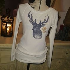 NEW  Oh Deer Everyone's favorite antler thermal fabric top.  So popular!  Oh DEER in gold.  Never worn.  31 inches  long.  Stretches Tops Tees - Long Sleeve