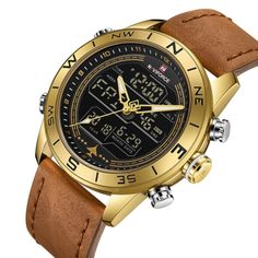 Buy it before it ends. There is always many products on sae upto - NAVIFORCE 9144 Fashion Gold Men Sport Watches Mens LED Analog Digital Watch Army Military Leather Quartz Watch Relogio Masculino - Fast Mart Sport Watches, Cool Watches, Watches For Men, Unusual Watches, Wrist Watches, Sport Chic, Top Luxury Brands, Gold Fashion, Fashion Jewellery
