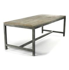 Abner Industrial Modern Rustic Bleached Oak Grey Dining Table | Kathy Kuo Home