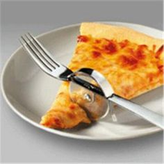 A pizza cutter and fork... I have a feeling I would slice my face off with one of these but it sure is cool
