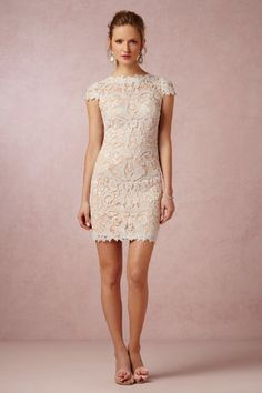 Lilian Dress... i LOVE this...i die!!! All-over lace and a flattering boatneck render this dress from Tadashi Shoji both modern and romantic. Embroidered tulle gives it a graphic look while the tonal blush lining brings a certain softness that we love for your bridal shower or reception.