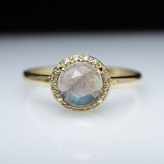 Solitaire Gemstone Ring Dainty Gold Ring Unique Engagement Ring Thin Stackable Ring Labradorite