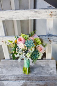 Bride's bouquet: pink, white and green with succulents. Rustic California Wedding Photos: Ashley + Gavin. See the photos at http://theweddingatlas.com/rustic-california-wedding-photos-ashley-gavin/