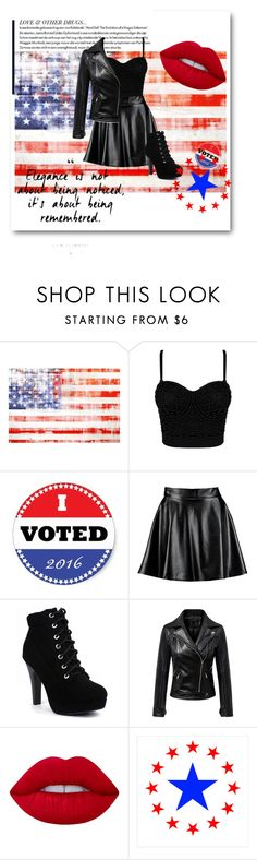 """""""Rock The Vote"""" by labugiarda ❤ liked on Polyvore featuring Marmont Hill, Boohoo, Chicnova Fashion and Lime Crime"""