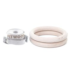 OLYMPIC GYM RINGS gymnastic rings – birch wood, white straps – product photo | FitWood of Scandinavia