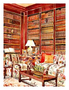 Brooke Astor's Library // Mita Corsini Bland - Tiger Flower Studio