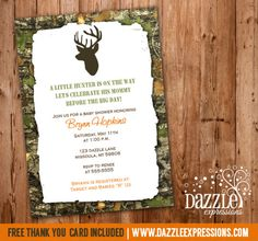 Printable Mossy Oak Hunting Baby Shower Invitation | Camo | Camouflage | Little Hunter | Buck | Deer | Elk | FREE thank you card included | Party Package Decorations Available | www.dazzleexpressions.com