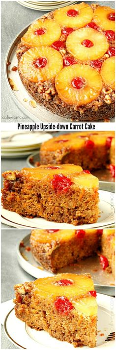 Pineapple Upside-Down Carrot Cake is rich with warm flavors. Brown sugar caramelizes with butter and candies the fruit making a unique flavor and compliments a moist,yet light in texture, carrot cake.
