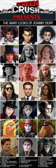 Johnny Depp Many LooksYou can find Johnny depp movies and more on our website.Johnny Depp Many Looks Young Johnny Depp, Here's Johnny, Johnny Depp Characters, Movie Characters, Best Johnny Depp Movies, Jhoni Deep, Junger Johnny Depp, Johnny Depp Quotes, Captain Jack Sparrow